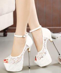 Lace Peep Toe Stilettos